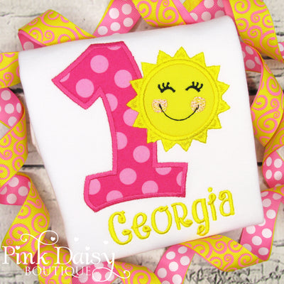 Sunshine Birthday Shirt in Pink and Yellow