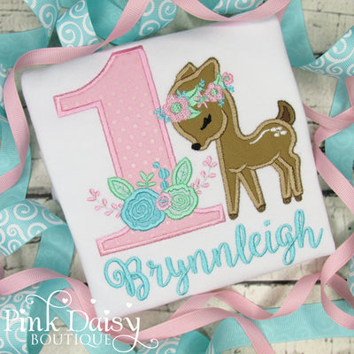 Woodland Fawn Birthday Shirt in Pink, Aqua, and Mint
