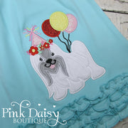 Shih Tzu Appliqué Birthday Dress in Aqua