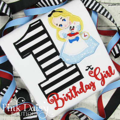 Alice in Wonderland Appliqué Birthday Shirt for Girls