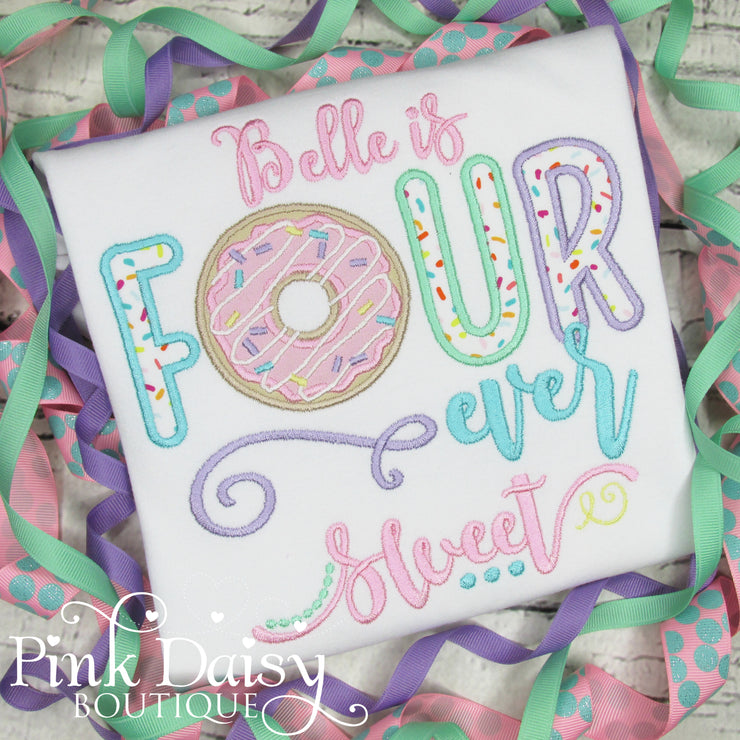FOURever Sweet Appliqué Birthday Shirt with Donut and Sprinkles