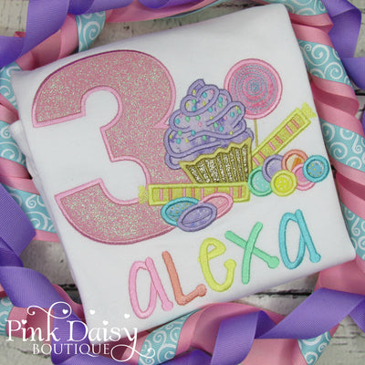 Candyland Appliqué Birthday Shirt in Pastel Rainbow Colors