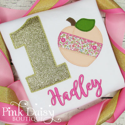Peach Birthday Shirt in Pink and Gold