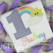 Pastel Rainbow Birthday Shirt with Cloud and Sunshine
