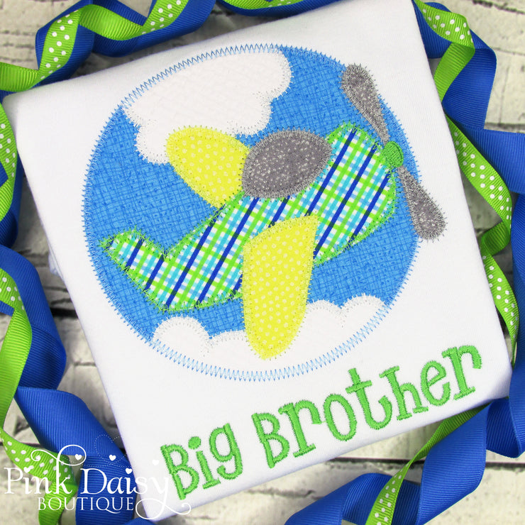 Big Brother Appliqué Shirt with Airplane and Clouds