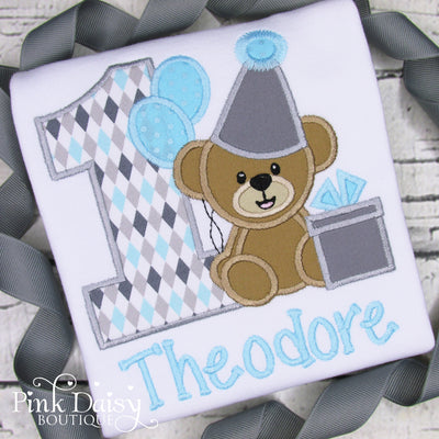 Teddy Bear Birthday Shirt for Boys in Blue and Gray