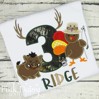 Hunting Birthday Shirt for Boys with Turkey and Hog