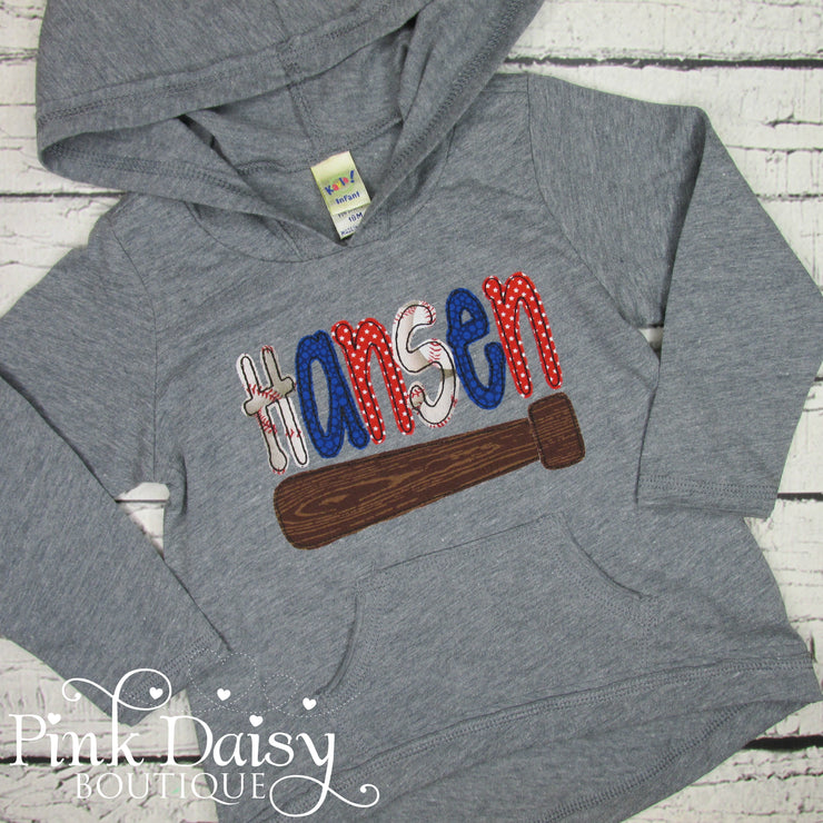 Personalized Hooded Tee - Baseball Theme in Red and Blue