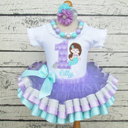 Mermaid Birthday Tutu Outfit in Lavender, Aqua, and Silver
