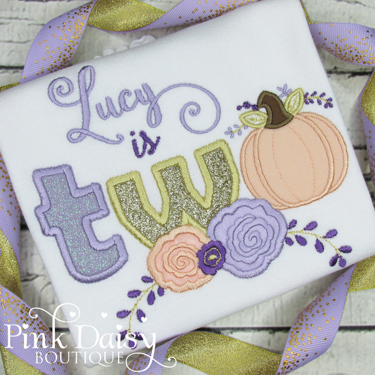 Pumpkin Floral Birthday Shirt in Shades of Purple, Peach, and Gold