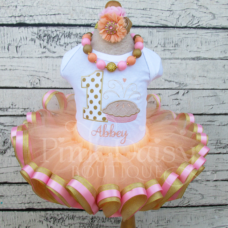 Sweetie Pie Birthday Tutu Outfit for Girls in Pink, Peach, and Gold