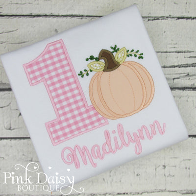 Pumpkin Birthday Shirt for Girls in Pink Gingham and Peach