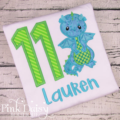 Dragon Birthday Shirt for Girls in Lime Green and Teal