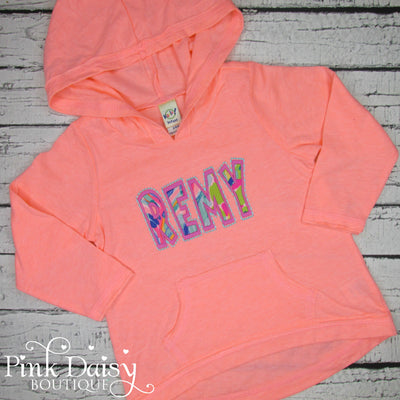 Personalized Hooded Tee - Coral, Pink, Blue, and Green
