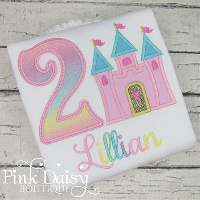 Personalized Princess Castle Appliqué Birthday Shirt in Pastel Rainbow Colors