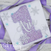 Winter ONEderland Birthday Shirt for Girls with Snowflakes in Lavender and Silver