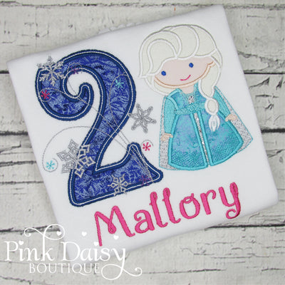 Personalized Ice Queen Appliqué Birthday Shirt with Snowflakes