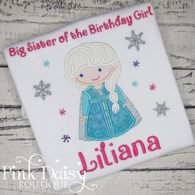 Big Sister of the Birthday Girl Personalized Ice Queen Appliqué Shirt with Snowflakes