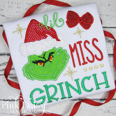 Lil Miss Grinch Appliqué Christmas Shirt for Girls
