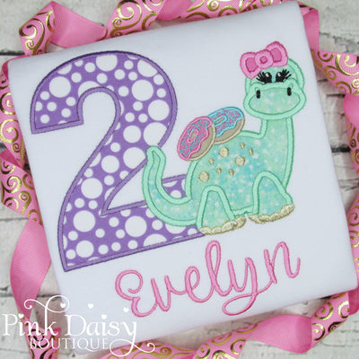 Donuts and Dinos Appliqué Birthday Shirt for Girls in Purple, Pink, and Green