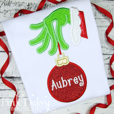Appliqué Christmas Shirt for Girls with Grinch Hand and Ornament