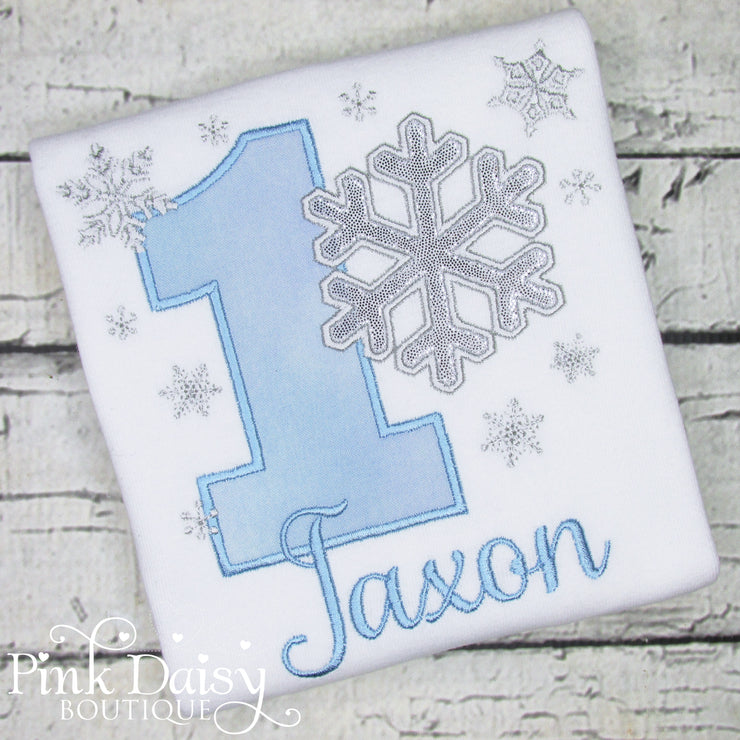 Boys Winter ONEderland Birthday Shirt with Snowflakes in Light Blue and Silver