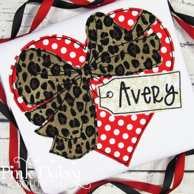 Personalized Valentine's Day Heart with Bow Applique Shirt for Girls in Red and Leopard Print