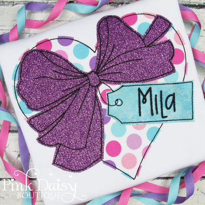 Personalized Valentine's Day Heart with Bow Applique Shirt for Girls in Purple, Pink, and Aqua