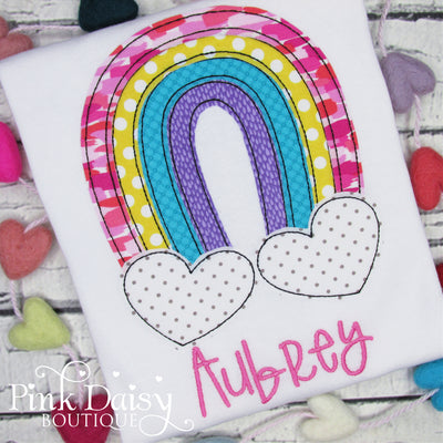 Personalized Rainbow Applique Shirt for Girls with Heart Clouds