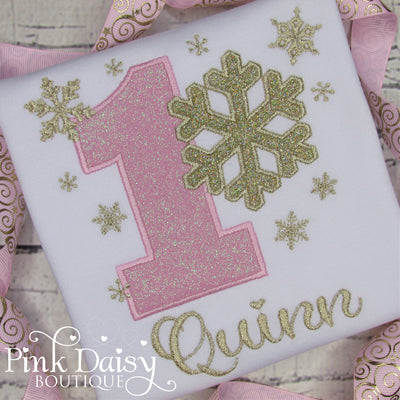 Winter ONEderland Birthday Shirt for Girls with Snowflakes in Pink and Gold