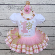 Winter ONEderland Snowflake Ribbon Trimmed Tutu Birthday Outfit for Girls in Pink and Gold