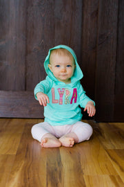 Personalized Hooded Tee - Pink, Coral, Gold, and Mint