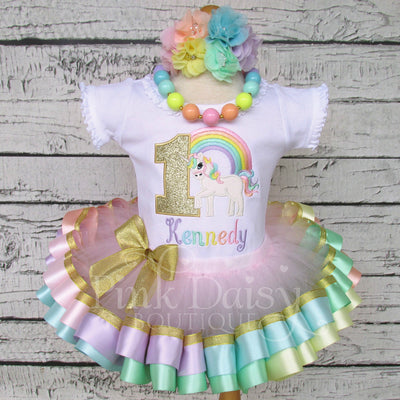 Pastel Rainbow Unicorn Birthday Tutu Outfit