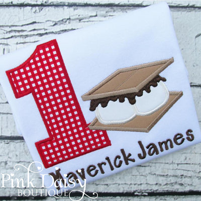 Personalized S'mores Camping Birthday Shirt for Boys in Red Gingham and Brown