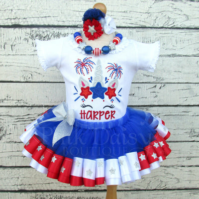 4th of July Tutu Outfit with Unicorn, Stars, and Fireworks