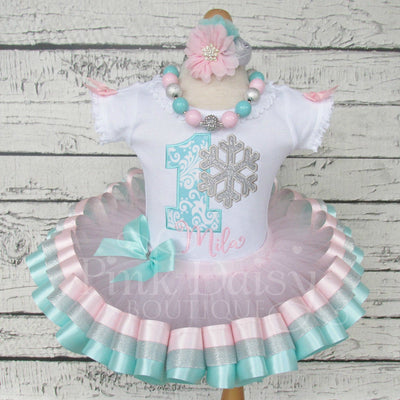Winter ONEderland Birthday Tutu Outfit in Pink, Aqua, and Silver