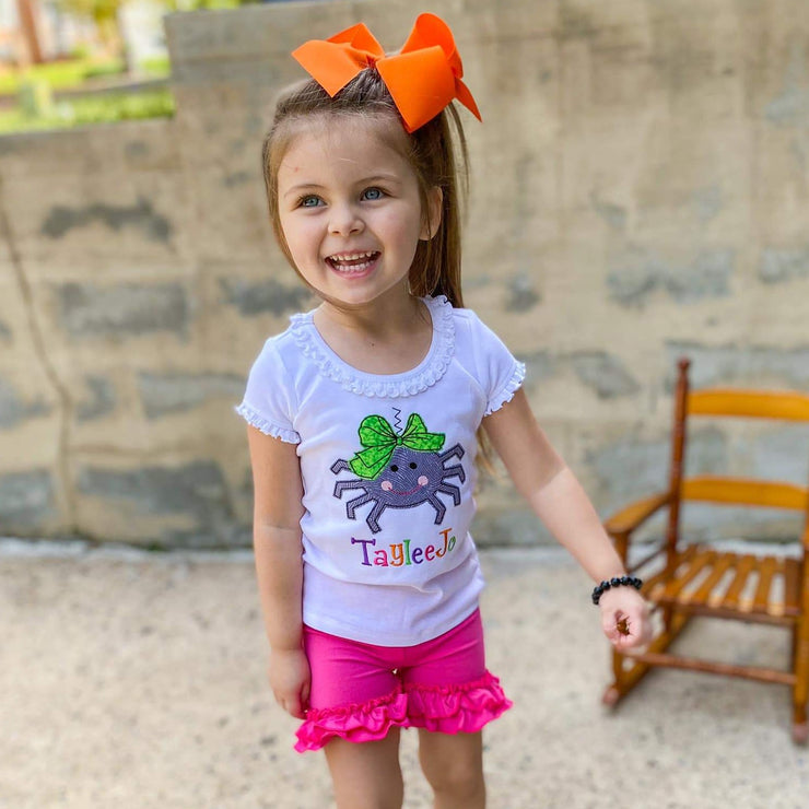 Spider Halloween Appliqué Shirt for Girls