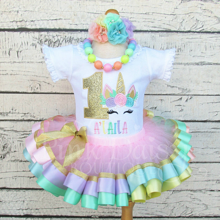 Floral Unicorn Birthday Outfit in Pastel Rainbow Colors