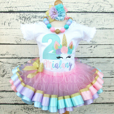 Pastel Unicorn Face Birthday Tutu Set in Pink, Lavender, Blue, and Gold