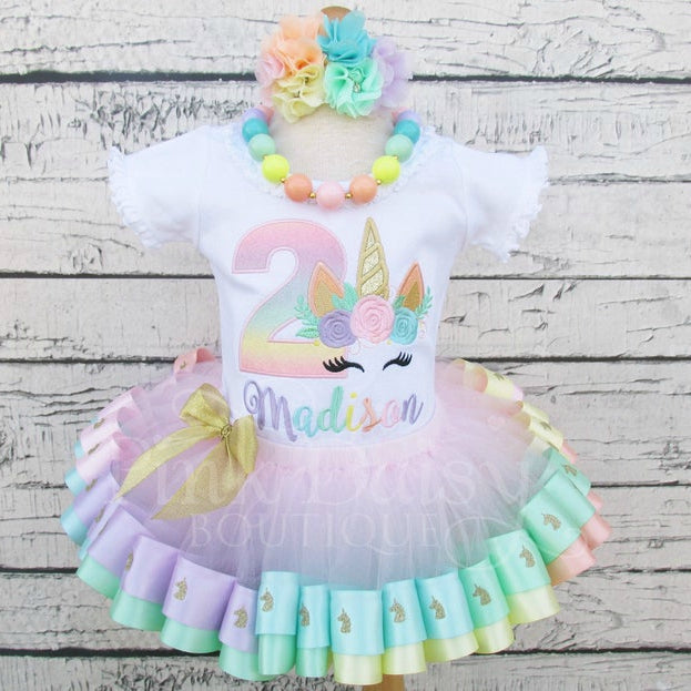 Birthday Tutu Outfit with Floral Unicorn Face in Pastel Rainbow Colors