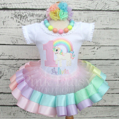 Rainbow Unicorn Birthday Tutu Outfit in Pastels