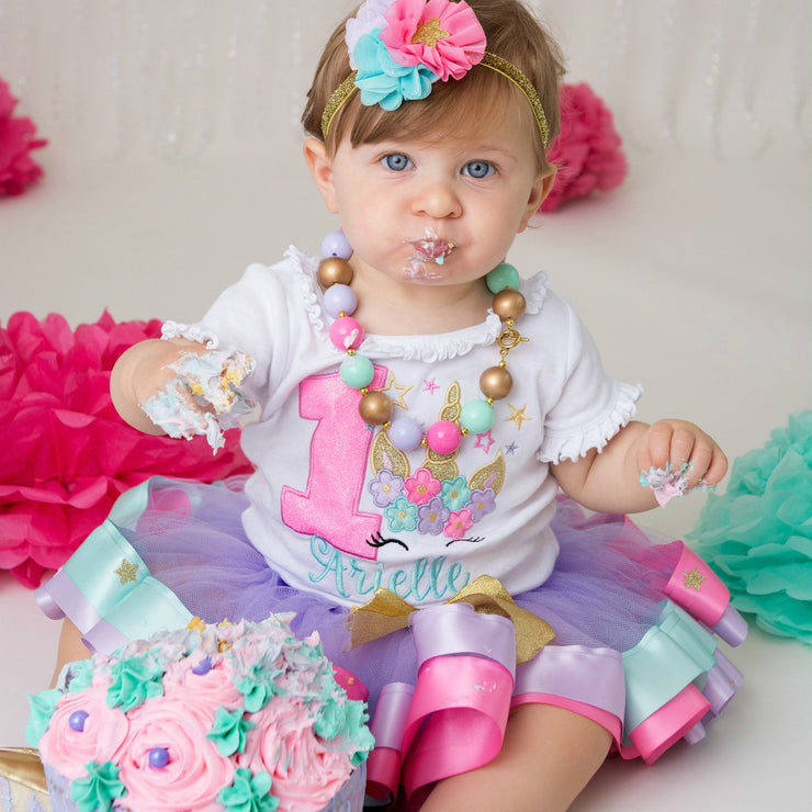 Unicorn Birthday Tutu Outfit with Stars