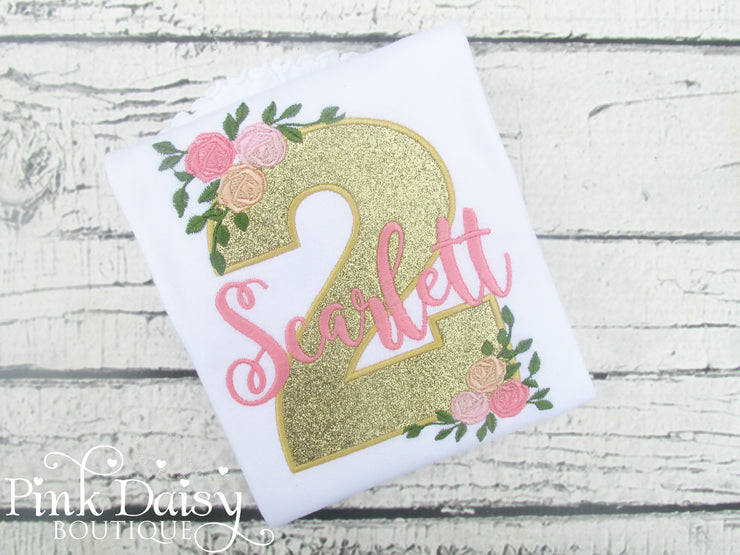 Gold Floral Birthday Shirt with Floral Accents