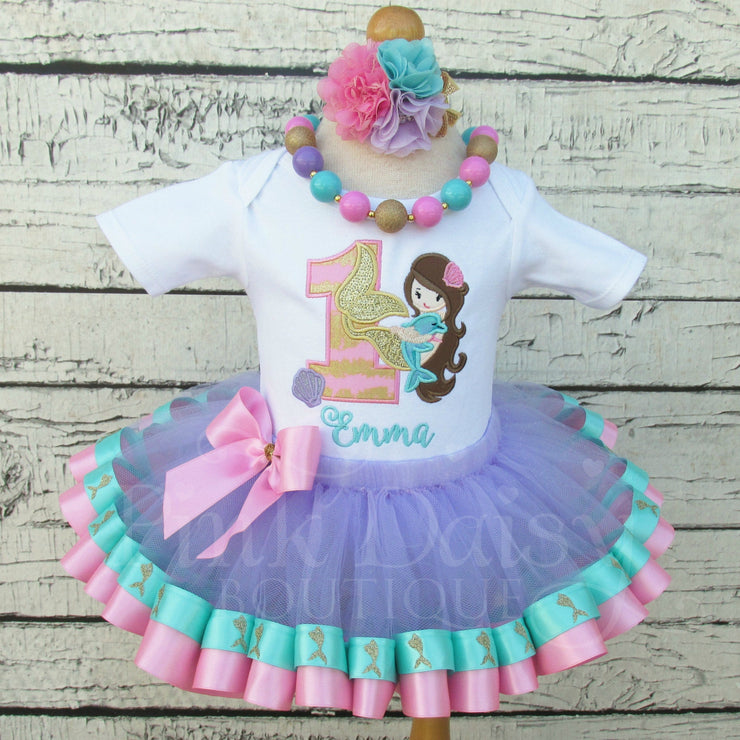 Mermaid Birthday Tutu Outfit in Pink, Lavender, Aqua, and Gold