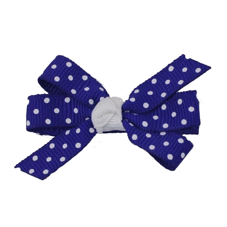 "White Swiss Dot - Small 2"" Pinwheel Bow - 17 Color Choices"