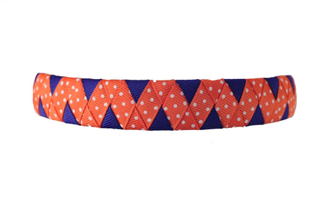 Orange and Purple Zig Zag Woven Headband with Swiss Dots