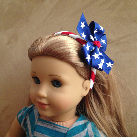 4th of July Doll Headband and Bow Set