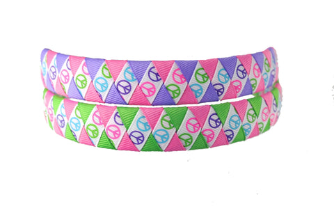 Peace Sign Woven Headband - Pick your colors