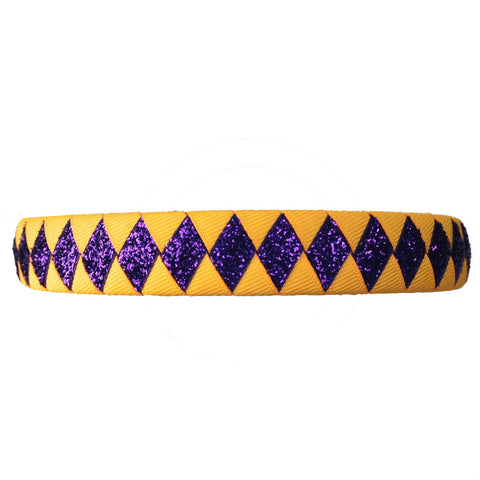 Yellow Gold and Purple Headband with Non-shedding Glitter Ribbon