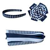 Navy and White Chevron Extra Large Bow, Headband, and Streamer Bundle